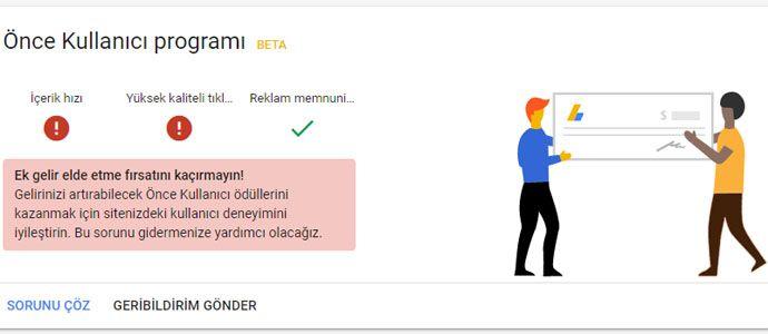Google Adsense - Önce Kullanıcı Programı